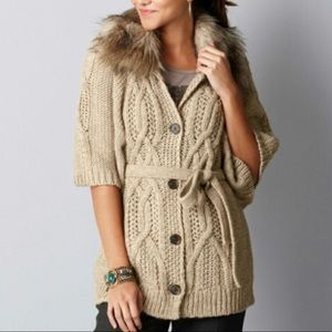 Loft women's fur collar cardigan sweater